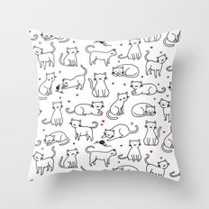 Kitties with Hearts Throw Pillow