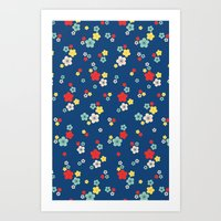 blossom ditsy in monaco blue Art Print