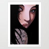 Black Geisha  Art Print