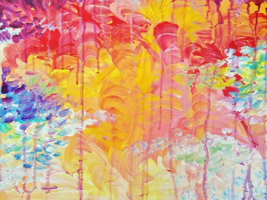 SUN SHOWERS - Beautiful Pastel Coloful Rain Clouds Bright Sky Abstract Acrylic Painting Canvas Print