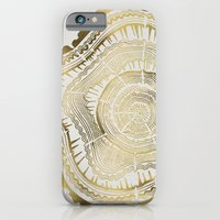 black iPhone & iPod Cases featuring Gold Tree Rings by Cat Coquillette