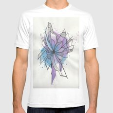 Explosion Flower Blue and Purple SMALL White Mens Fitted Tee