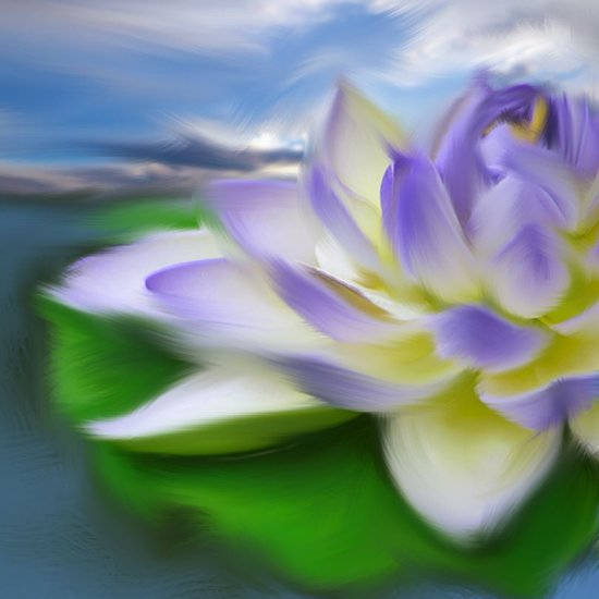 Purple & blue lotus flower on water painting Art Print