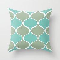 Marrakech Pattern Sea Green Throw Pillow