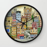 Painted Houses Wall Clock
