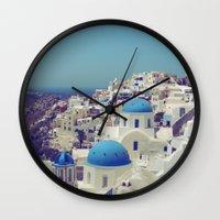 Blue Domes II, Oia, Santorini, Greece Wall Clock