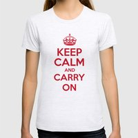 keep Calm and Carry On - Red/White Book Womens Fitted Tee Ash Grey SMALL
