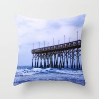 Waves Against The Pier Throw Pillow