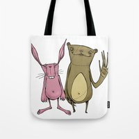 Bunny And Bear Friends  Tote Bag
