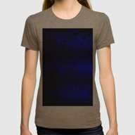 Vibrant Blue Abstract Fl… Womens Fitted Tee Tri-Coffee SMALL