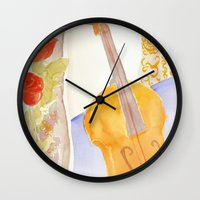 Violin and Roses Wall Clock