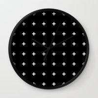 White Plus on Black /// www.pencilmeinstationery.com Wall Clock