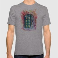 Doctor Who Tardis Mens Fitted Tee Athletic Grey SMALL