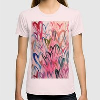 My Love Heart Womens Fitted Tee Light Pink SMALL