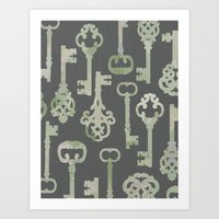 Skeleton Key Pattern In … Art Print
