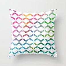Rainbow Geometric Throw Pillow