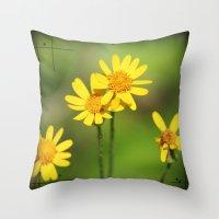 Yellow Flower Dream Throw Pillow