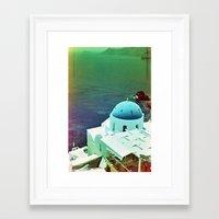 Blue Dome Church, Santor… Framed Art Print