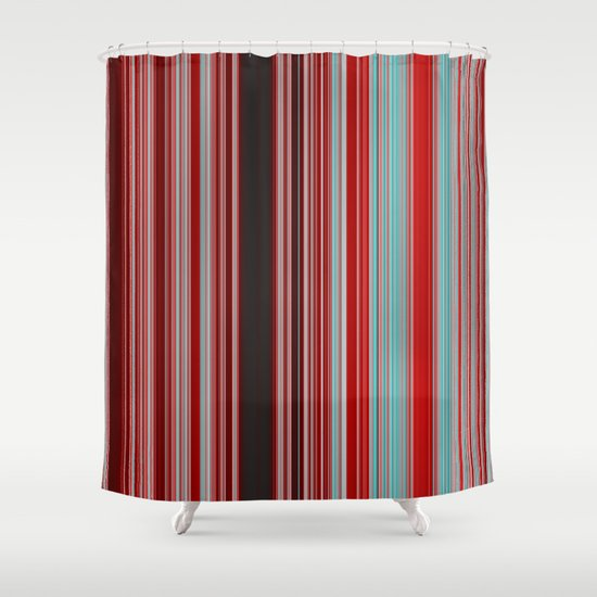 Red And Aqua Blue Line Pattern With Black Shower Curtain