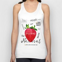 Watercolor strawberry Unisex Tank Top