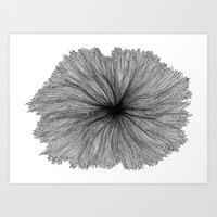 Jellyfish Flower B&W Art Print