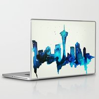 seattle Laptop & iPad Skins featuring Seattle  by Talula Christian