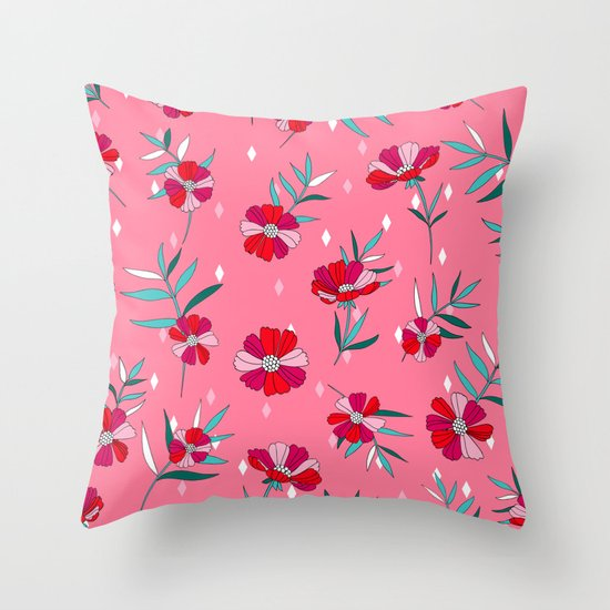 Pink Summer Throw Pillow