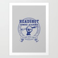 Headshot Zombie Academy Art Print