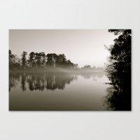 Misty Lake B&W Canvas Print