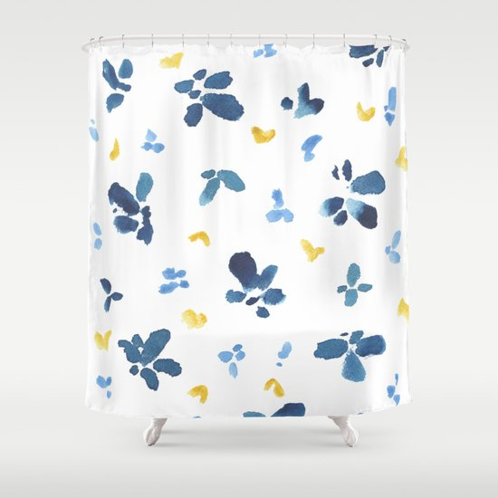 Blue And Yellow Watercolor Floral Shower Curtain By Susan Windsor Society6