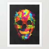 Meduzzle: Colorful Geometry Skull Art Print