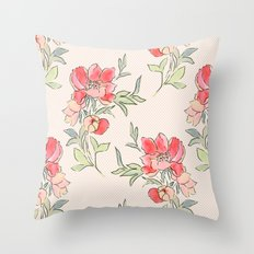 Vintage Floral Green Dot Throw Pillow