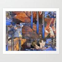 Blue Water &  Golden Lea… Art Print