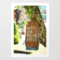 Falling Apples Art Print