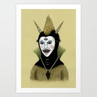 Creature With Black Amul… Art Print