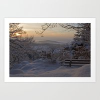 Winter sunset in the Black Forest Art Print