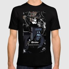 Broken, rupture, damaged, cracked black apple iPhone 4 5 5s 5c, ipad, pillow case and tshirt Mens Fitted Tee Black SMALL