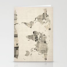 Map of the World Map from Old Postcards Stationery Cards
