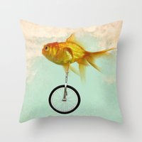 unicycle gold fish -2 Throw Pillow