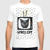Space Cat Mens Fitted Tee White SMALL