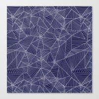 Spiderwebs - Webs on navy blue Canvas Print
