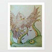 Octopus Owl  Art Print
