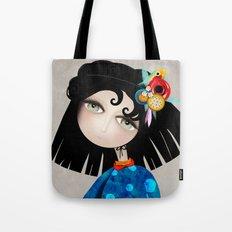 Black Hair Huge Green Eyes Tote Bag