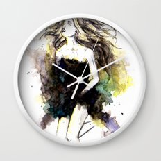 Watercolor Girl Wall Clock