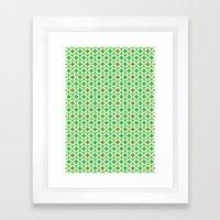 Repeated Retro - green Framed Art Print