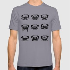Moustaches of The Pug Mens Fitted Tee Slate SMALL