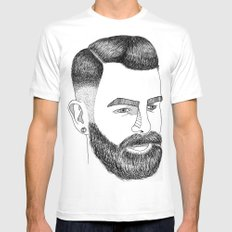Haircut 60's White SMALL Mens Fitted Tee