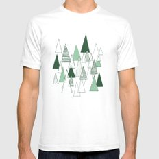 Forest Pattern White Mens Fitted Tee SMALL