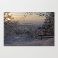 Winter sunset in the Black Forest Canvas Print