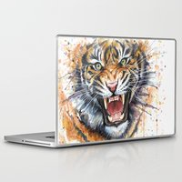 tiger Laptop & iPad Skins featuring Tiger by Olechka